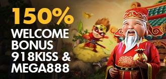 918kiss MEGA & KISS 150% WELCOME BONUS