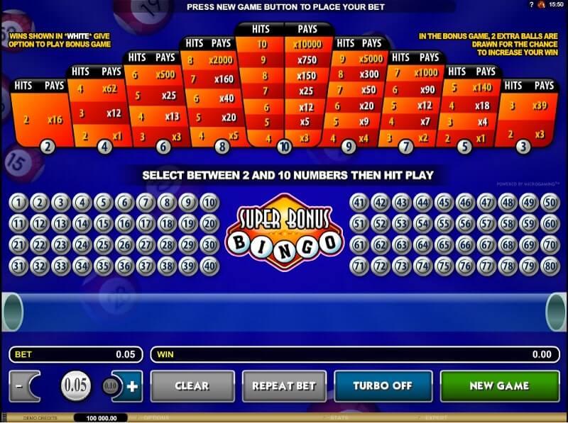 microgaming super bonus bingo