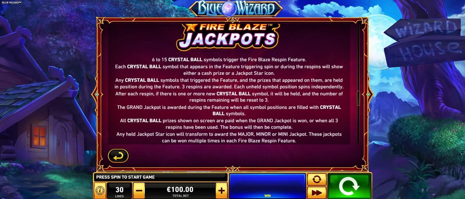blue wizard fire blaze jackpots
