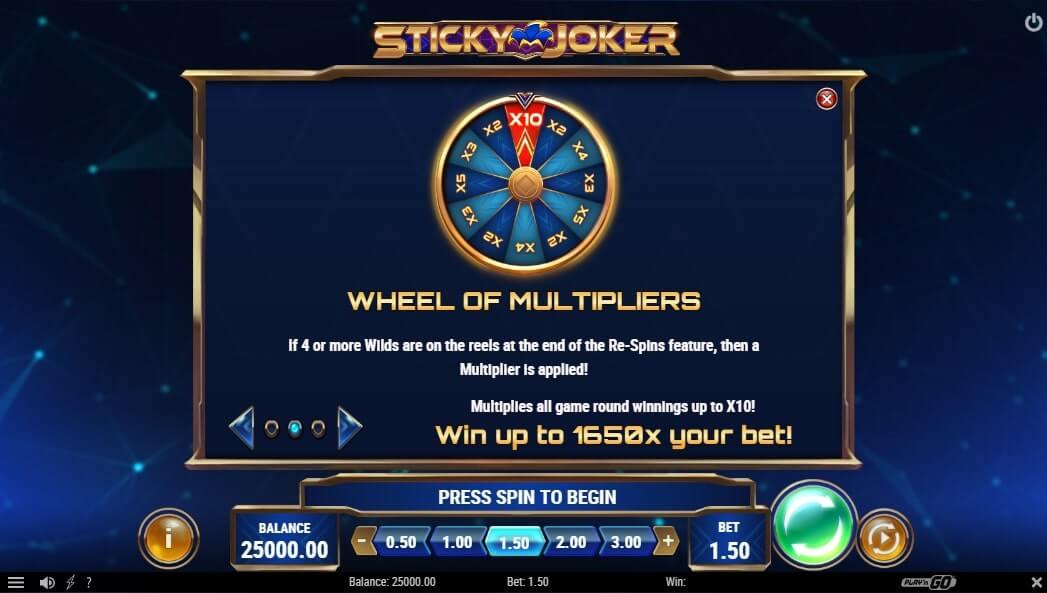 sticky joker wheel of multipliers
