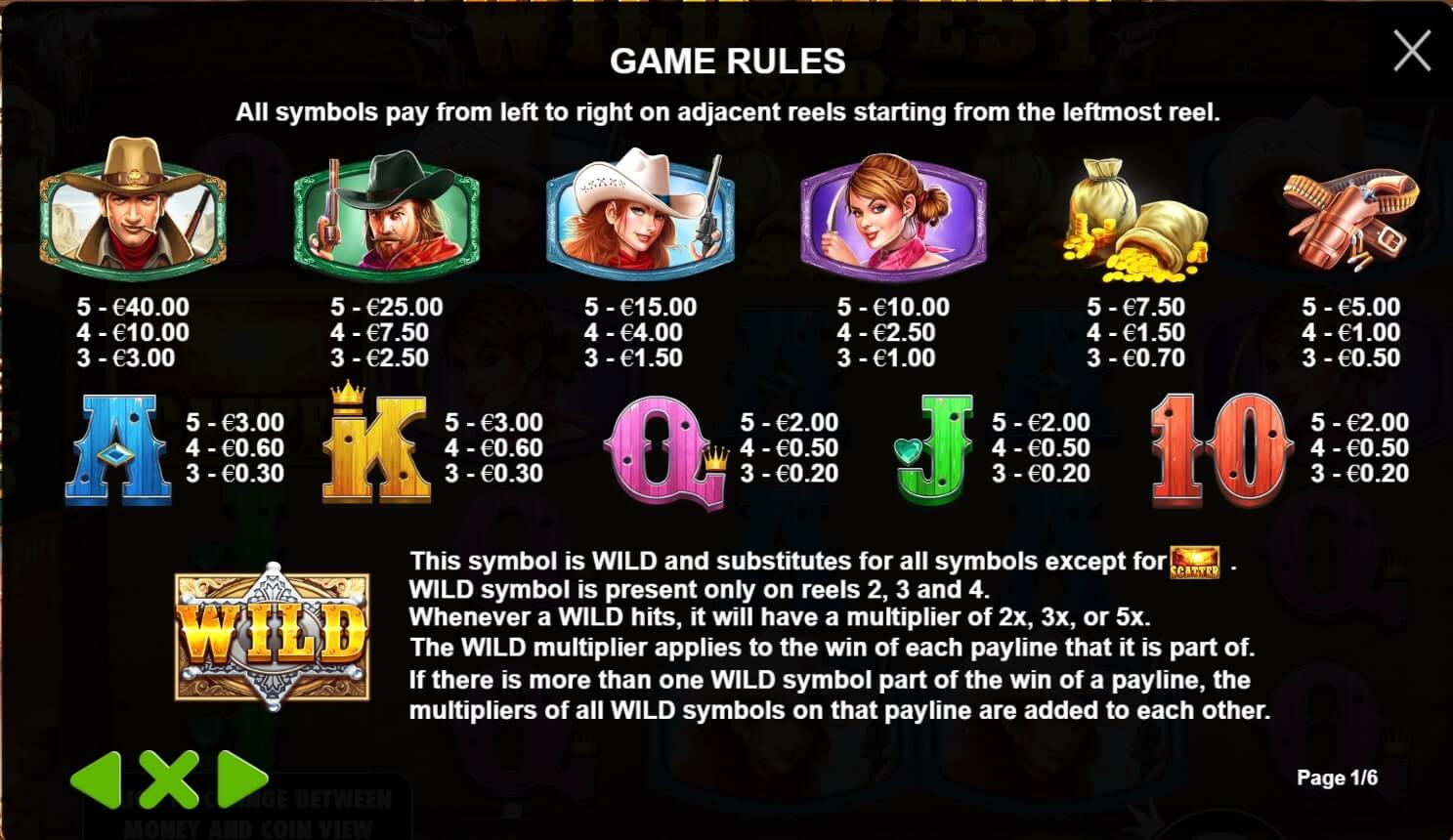 wild west gold paytable