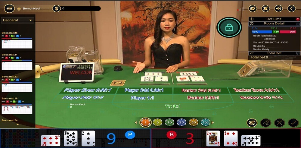 baccarat player win