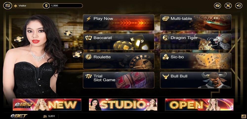 ebet online casino dashboard